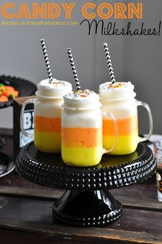 Candy Corn Milkshakes It looks amazing, it really does looks, and it taste like that. They are made for Halloween but that doesn't mean that we can't made them in ordinary day.