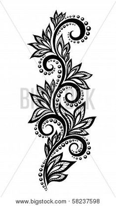 Isolated floral design element With the effect of lace eyelets.Illustration of black and white flowers and leaves Floral design element in retro style vector art, clipart and stock vectors. lace EPS clipart vector and stock illustrations available to Design Floral, Lace Design, Floral Motif, Hand Embroidery Designs, Floral Embroidery, Embroidery Patterns, Lace Tattoo Design, Henna Tattoo Designs, Tattoo Ideas
