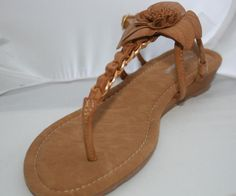 Natural Tan Flower with Gold Chain Sandal Ladies Shoes