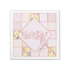 Pink Baby Booties and Patchwork Quilt Party Napkin Disposable Napkin
