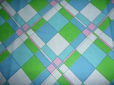 "Vtg Diagonal Argyle MOD Plaid Mid Weight Cotton Fabric 44"" x 4yd Green Blue Pink"