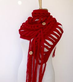 Free Shipping-Rapunzel Wool Scarf-Red Accessories by knittingshop