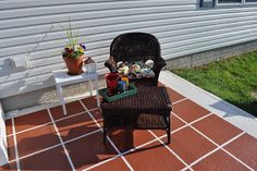 What a Lovely easy Budget Friendly way to Update & Refresh Outdooors for Fall! DIY:: Painted Patio Tiles-Excellent photo tutorial by Squires Squires Keep Calm and Decorate Outdoor Projects, Home Projects, Outdoor Furniture Sets, Outdoor Decor, Outdoor Stuff, Outdoor Ideas, Backyard Ideas, Concrete Porch, Patio Tiles