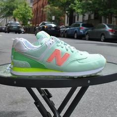 Designer: New Balance Color: Seafoam Green The W 574 State Fair sneaker features colors inspired by the sights and sounds of carnival attractions with a playful lining printed with frozen treats. Sock Shoes, Cute Shoes, Me Too Shoes, Shoe Boots, New Balance 574 Womens, New Balance Style, New Balance Sneakers, New Balance Shoes, Hiking Gear