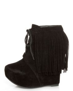Get friendly with fringe in the Privileged Nissa Black Lace-Up Fringe Wedge Booties! Velvety vegan suede ankle boots with fringe and a cool, looped lace-up panel. Black Suede Boots, Suede Ankle Boots, Wedding Dress, Old Shoes, Fringe Booties, Junior Outfits, Trendy Tops, Passion For Fashion, Fashion Shoes