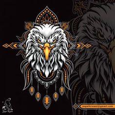 Illustration of eagle head with mandala pattern as the ornament background Eagle Face, Eagle Head, Mandala Pattern, Predator, Vector Art, Badge, Wildlife, Ornament, Symbols