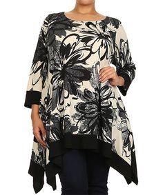 Look at this #zulilyfind! Ivory & Black Floral Handkerchief Tunic - Plus by  #zulilyfinds