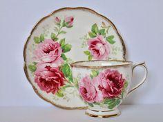 Royal Albert Pink Rose American Beauty Tea Cup and Saucer #RoyalAlbert
