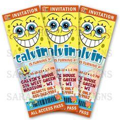 SpongeBob SquarePants Birthday Invitation by sarahhopedesigns, $7.50