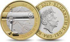 Reino Unido 2£ 2017 – La Guerra en el Aire Coin Design, Challenge Coins, Rare Coins, Coin Collecting, Personalized Items, Stamps, Logo, War, Coins