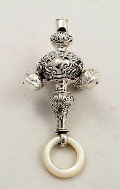 Antique Sterling Silver Baby Rattle with Whistle & Bells, 1902 Looks Vintage, Vintage Metal, Vintage Silver, Antique Silver, Antiques For Sale, Vintage Antiques, Selling Antiques, Antique Toys, Baby Rattle