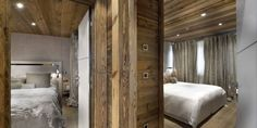 Architecture:Modern Luxury Decoration With Wooden Accent For Each Bedroom And Classy Bed Design A Perfect Chalet in French for Homesick Peop. Elegant Bedroom Design, Modern Bedroom, Bedroom Designs, Wood House Design, Eden Design, Chalet Design, Style Rustique, Ski Chalet, Bedroom With Ensuite