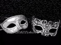 New Men Women Couple Silver Carnival Metal and Glitter Venetian Masquerade Mask