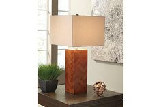 Tabeal table lamp simply wows with ultra clean lines and minimal fuss for highly contemporary appeal. Chic chevron pattern on the blocky wood base is a delightfully artful element.