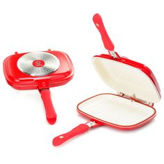 Cook's Companion Set of 2 Easy Flip Pans Red New