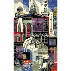 'The City' by Edward Bawden for a poster for the London Underground, 1952 (lithograph) London Underground, Underground Tube, Illustrations, Illustration Art, London Illustration, Poster S, Poster City, A Level Art, London Art