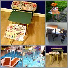 HJERTEHJORT: Vi starter prosessen med ReDesign Teakbord ReDesignet med Tapet og Maling. Teak Tables Redesigned with Wallpaper and paint. Eijffinger wallpaper from PipStudio