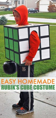 DIY Rubik's Cube Costume – Easy Homemade Halloween CustumeYou can find Homemade halloween costumes and more on our website.DIY Rubik's Cube Costume – Easy Homemade Halloween Cu. Halloween Noir, Easy Homemade Halloween Costumes, Halloween Costumes Kids Boys, Halloween Costumes To Make, Easy Diy Costumes, Diy Halloween Costumes For Kids, Boy Costumes, Easy Halloween, Women Halloween