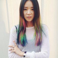 colored hair, rainbow, ierene