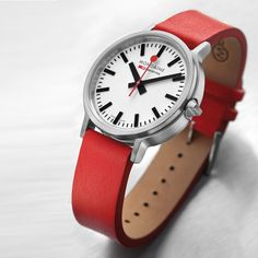 Stop2Go (white/red) watch by Mondaine. Available at Dezeen Watch Store: www.dezeenwatchstore.com #watches