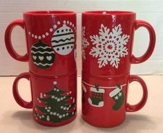 Set of 4 Waechtersbach Red Christmas Mugs - Snowflake Stockings Ornaments Tree & Vintage Waechtersbach Christmas Tree Mug | Christmas tree Christmas ...