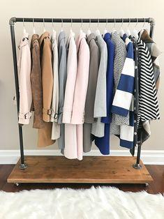 clothing rack, DIY, Industrial Pipe Rolling Clothing Rack with Cedar Wood Shelf on Wheels, petite hangers