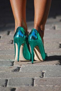 Teal Metallic Heels