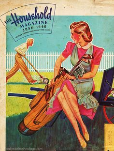 The Household Magazine  1940-06 (over painting John Holmgren - Getting Hubby to Mow the Lawn | by Retroarama