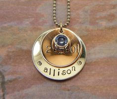 Hand Stamped Jewelry Personalized Birthstone by BeeBaublesJewelry, $25.00