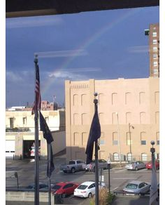 Beautiful Rainbow picture from the Omaha ,Ne. Police Station like 9:15am on 9-25-15