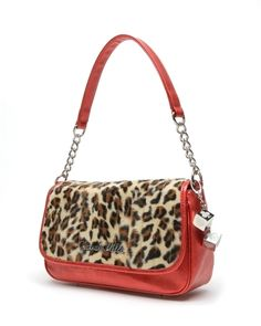 Lux de Ville Mini Gambler Tote Red Sparkle and Leopard - Steady Clothing Inc.