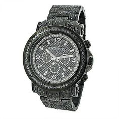 Fully Iced Out Black Diamond Mens Watch by Luxurman 4.25ct Oversized #men'sjewelry