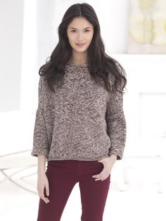 Knit this chic top with our featured yarn and save 20% for a limited time! Free pattern calls for 15-17 balls of LB Collection Crepe Melange (pictured in Twig) and size 6, 7, and 8 knitting needles.