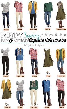 Fun new Target Fall Capsule Wardrobe. These pieces mix and match for 15 great outfits that will have you looking great this fall. I love the muted plaid shirt, olive green dress and mustard cardigan. All perfect for fall!  via @everydaysavvy