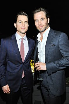 """Matt Bomer and Chris Pine attend an intimate toast to the Oscars hosted by Roberta Armani and Cate Blanchett on February 21, 2015 in Beverly Hills, California. """