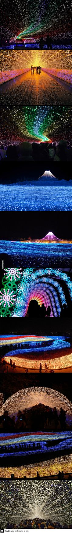 Located in Kuwana City (Mie Prefecture) is Nabano No Sato, a flower-focused park featuring sprawling gardens and giant greenhouses. Running annually from mid November to mid March is one of Japan's finest Winter Illuminations, including the famous tunnel of light.