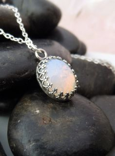 FREE SHIPPING - Opal Necklace, Opal Pendant Necklace, White Opal Pendant, Simple Opal Jewelry on Etsy, $38.00