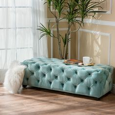 The Provence tufted ottoman bench is the perfect addition to any room that is in need of an ottoman that can double as a comfortable seat. This ottoman is both soft and stylish, giving you the best of both worlds, allowing you to relax knowing that your guests are comfortable and when they leave at the end of the night you can put your feet up in comfort.Features:Includes: One (1) OttomanMaterial: New VelvetFrame Material: BirchAvailable in: Ivory, Dark Teal, Purple, Light Green, Light Gray, ...