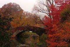 Gapstow Bridge, New York, USA. Autumn.