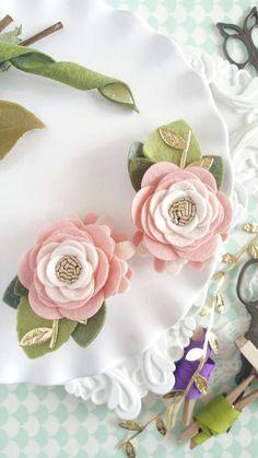 Rose Quartz Felt Flower Hair Clips  Rose Mini by LovelyFeltShop