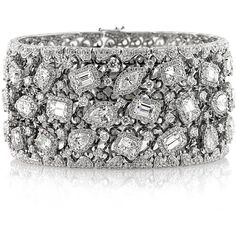 Mark Broumand 34.17ct Fancy Shape Diamond Cuff Bracelet ($89,995) ❤ liked on Polyvore featuring jewelry, bracelets, white, white bracelet, pandora jewelry, bracelet bangle, cuff bangle bracelet and diamond bracelet bangle