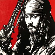 Allison Lefcort - CAPTAIN JACK SPARROW - Original Oil on Canvas - Disney Fine Art - Original Art