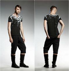 marque-vetements-pendari-tshirt-homme-noir-peint-mains-motifs-blancs