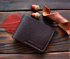 Купить Кожаный кошелек - коричневый, однотонный, кожаный кошелек, кошелек из кожи, кошелек ручной работы