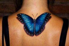 Dark Blue Butterfly 3D Tattoos for Girls I love the 3D