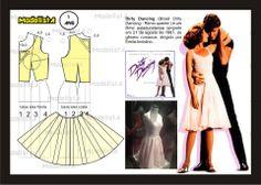 Modelagem do vestido, figurino usado no filme Dirty Dancing. Fonte: https://www.facebook.com/photo.php?fbid=565957043440205=a.426468314055746.87238.422942631074981=1
