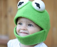 handmade Sesame Street and The Muppets character masks - Kermit Mask by JustZipity (Etsy)
