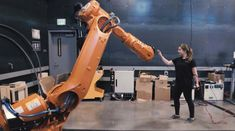 Allowing people to easily direct industrial robot actions through human movement, researcher, designer, and educator Madeline Gannon developed a gesture-based communication software, Quipt, as an arti