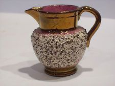 Old copper lustre miniature pitcher embedded sand on sides China Dinnerware, Fine China, Tea Set, Bristol, Luster, Miniature, Copper, English, Tea Sets