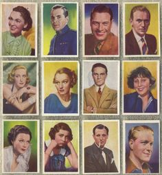"""movie star trading cards issued by Nestle's for their rarer Volume 2 set of """"Stars of the Silver Screen"""" issued in 1937"""
